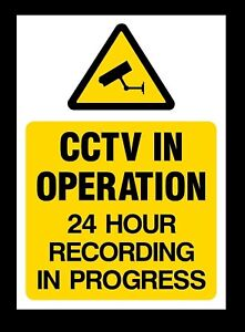2 x A6 CCTV Sign 24 Hour Recording Adhesive Sticker Security Warning 100 x150mm