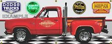 1979 DODGE LIL RED EXPRESS TRUCK GARAGE SCENE BANNER SIGN SHOP ART MURAL 2' X 5'