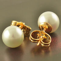 Yellow Gold Plated White Pearl Womens cute small Stud Earrings Vintage authentic
