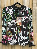 Desigual Long Sleeve Shirt by C Lacroix size XS, UK/AUS8, NWT Removable Collar