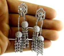 Fine Long Cluster Diamond Drop Dangle Chandelier Earrings 18K White Gold 7.60Ct