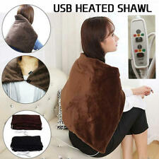 USB Powered Soft Heated Shawl Plush Electric Throw Blanket Winter Warming Pad