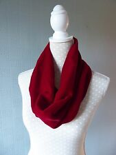 Red velvet cowl snood loop scarf Christmas gift accessories for her luxury scarf