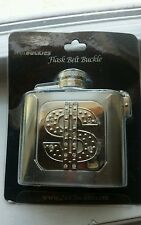 Hip Hop Style Flask with Dollar Sign Belt Buckle