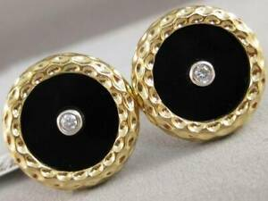 LARGE DIAMOND BLACK ONYX 14K WY GOLD ROUND BUTTON MENS CUFFLINKS 19MM #U36224YP5