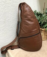 Ameribag Healthy Back Bag Backpack Leather Small Sling Brown Shoulder Pad USA GC