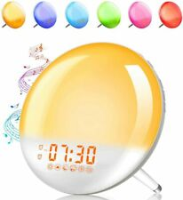 Alarm Clock Wake Up Light Sunrise/Sunset Simulation 7 Colors, 7 Sounds & Radio