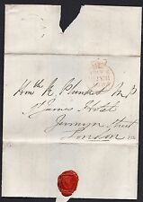 1835 free frank letter To Hon Mr R. Plunkett M.P. with blue undated & Free pmk's