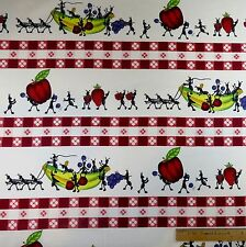 Cotton Fabric Sewing Quilting  Summer Picnic Ants Fruit Tablecloth - 1 1/4 yd.