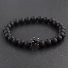 Gorgeous CZ King Crown 8mm Natural Stone Matte Agate Beads Bracelets Jewelry New