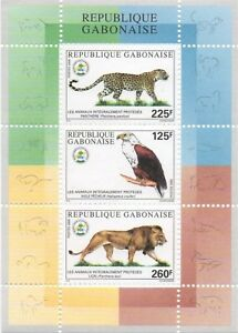 GABON 2000 FAUNA ENDANGERED PROTECTED LIONS GUEPARD LEOPARD EAGLES SHEET MNH **
