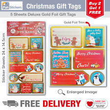 Gold Foil Christmas Gift Tag Stickers 55 Pieces - 1701