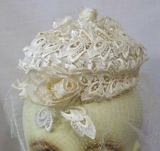 Vintage Woman's Hat White Lace Straw Flowers Veil Wedding Hat