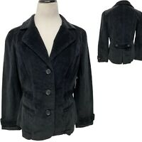 St. John's Bay Women's Black Corduroy Blazer Jacket Button Front sz PL (B-3C)