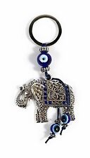 Lucky Elephant Blue Evil Eye Trunk Up Blessing Protection Good Luck Keychain