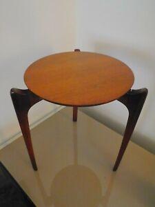 Mid Century Modern Round Danish Side Table Plant Stand Walnut Teak