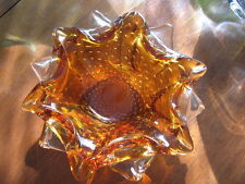 hand  BLOWN GLASS VASE AMBER AND CLEAR GLASS 8.5""