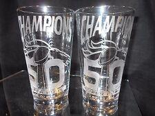 2016 SUPERBOWL 50 CHAMPION DENVER BRONCOS 2 ETCHED LOGO 16oz PINT GLASSES NEW