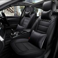 5-Seats Deluxe PU Leather Car Seat Cover Set w/Pillows SUV Front & Rear Cushions