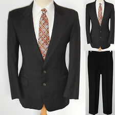 40R Mens 2pc MOD Geoffrey Beene Scarface Gangster Brown Pinstripe Wool Suit