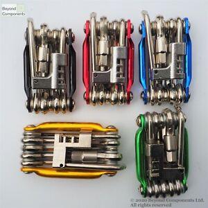 11 in 1 Function Anodised Bicycle Multi Bike Tool Allen Keys Screwdrivers Chain