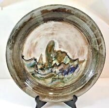 "Studio Pottery Plate/Charger Glazed Artist Signed Incised Landscape 13 1/4"""