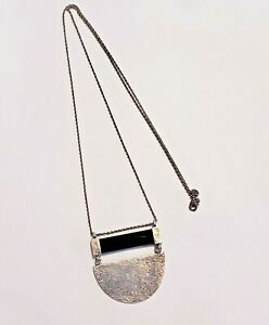 """Silpada """"Modern Contrast"""" Natural Agate Sterling Silver Long Necklace"""