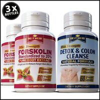 3 BOTTLES FORSKOLIN NATURAL SLIMMING DIET WEIGHT LOSS PILLS COLON DETOX CLEANSE