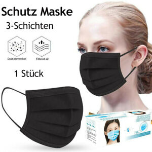 Schwarze Mundschutz Maske 3-lagig  Atemschutz Schutzmaske ***Mengewählbar***