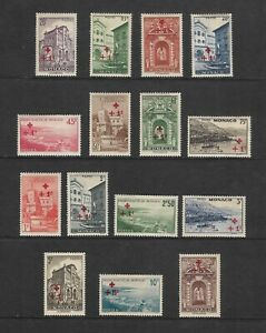 FULL SET 1940 MONACO STAMPS - RED CROSS AMBULANCE, SURCHARGE SG 214 - 228 MH.