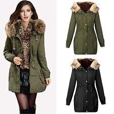 Damen Warm Winter Parka Long Mantel Steppjack Fleece kapuzenpullover Winterjacke
