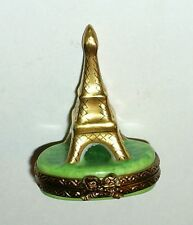 LIMOGES BOX ~ PARRY-VIEILLE ~ TINY GOLD EIFFEL TOWER ~ FRENCH FLAGS ~ PEINT MAIN
