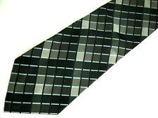 """Mens Necktie Tie Grey Black Checkered Silk 59"""""""