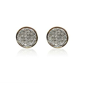 0.15 Ct Round Cut Natural White Diamond Stud Earring Yellow Gold Over Screw Back