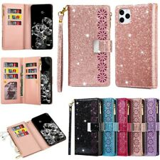 Bling Glitter Zipper Leather Magnetic Wallet Purse Flip Case Cover For iPhones