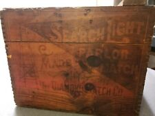 Antique Primitive Search Light Match Wooden Shipping Crate - COOL END LOGOS!