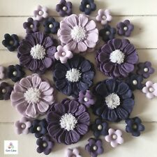 30 Purple Bouquet Edible Flowers Cake Cupcake Toppers Decorations Wedding Easter