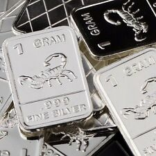 """Scorpion"" Design. Lot of 10, 1 gram silver bullion .999 Fine silver bar. New!!"