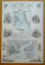 TURKEY & CONSTANTINOPLE STREET PLAN, GREEK ISLANDS, Fullarton antique map c1865