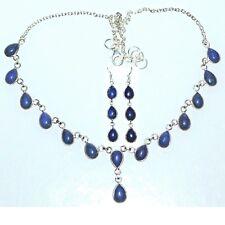 Sterling SILVER Lapis Necklace Earrings SET, Genuine Blue Gemstone 925 Jewellery