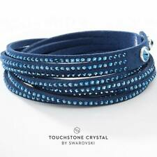 Touchstone Crystal wrap-star bracelet in BLUE ultra suede and Swarovski crystals