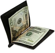 Black Men's Leather Money Clip Thin Bifold Wallet Front Pocket