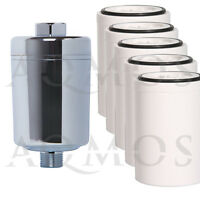 1 Duschfilter Chrom + 5 Wechselfilter Kalkfilter Allergie Reisefilter Chlor Rost