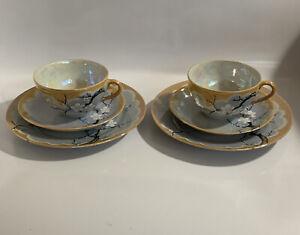 Cherry Blossoms 2 Tea Cups Saucers Dessert Plates Lusterware Hand Painted Japan