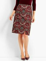 NEW $99 TALBOTS Red Opulent Paisley Side Button Faux-Wrap Skirt Sz 16