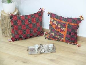 Set-of-2 Traditional Moroccan Pillow berber Vintage-Handmade Cover free shipping