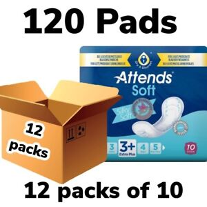 Attends Soft 3 +  Extra Plus 12 Packs Of 10 ,120 x Incontinence Pads 205112