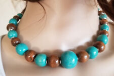 """Brown & Teal Large Wooden Beaded Necklace 16 - 18"""" Choker Hand Painted Slvertone"""