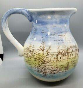 "Maxcera ""Pinesville"" Christmas Winter Holiday Pitcher Handpainted Pastel"