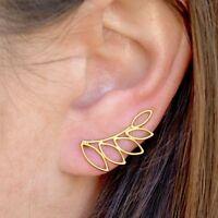 Simple Minimalist 24k Gold Vermeil Floral Open Leaf Leaves Ear Climbers Earrings